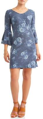MIK Women's Floral Double Bell Sleeve Dress