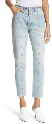 Rebecca Taylor Beatrice Embroidered Crop Straight Leg Jeans