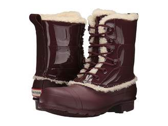 Hunter Patent Leather Lace-Up Shearling Lined Boot Women's Rain Boots