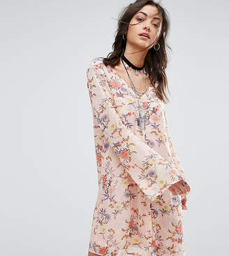 Glamorous Tall Button Front Dress In Floral Print
