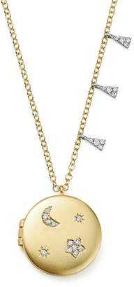 Meira T 14K White and Yellow Gold Diamond Moon and Star Locket Necklace, 16""