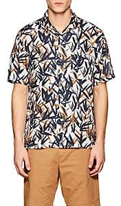 Theory Men's Daze Leaf-Print Linen Shirt - Orange