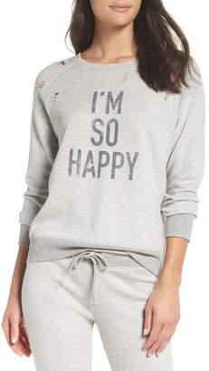 David Lerner I'm So Happy Distressed Sweatshirt