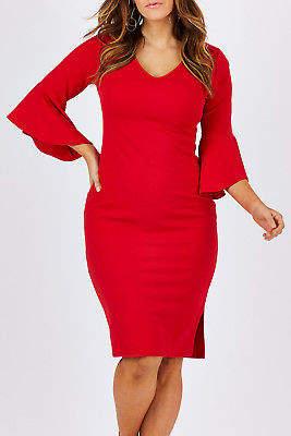 NEW bird by design Womens Calf Length Dresses The Bell Sleeve Pencil Dress