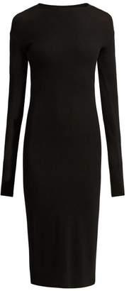 Paco Rabanne Rib Knitted Wool Blend Dress - Womens - Black