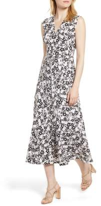 Anne Klein Pieced Floral Midi Dress