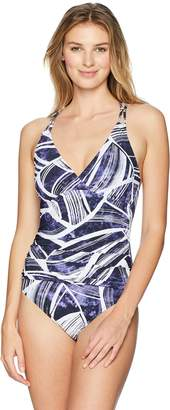 LaBlanca La Blanca Women's Underwire Cross-Wrap One Piece Swimsuit, Navy/White / Leaf Print
