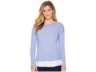 U.S. Polo Assn. Stripe Knit Shirt with Peplum Women's Clothing