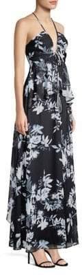 BCBGMAXAZRIA Floral-Print Ruffled Gown