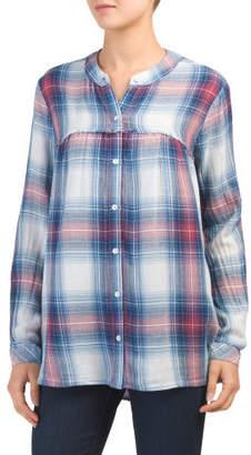 Plaid Long Sleeve Button Down Tunic