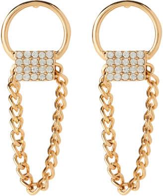 Steve Madden Gold-Tone Hoop Curb Square Earrings