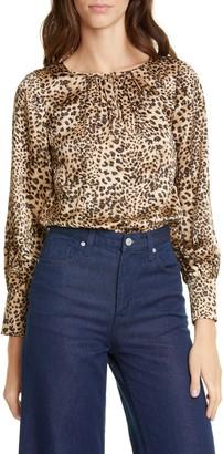 Rebecca Taylor Lynx Pattern Silk Top