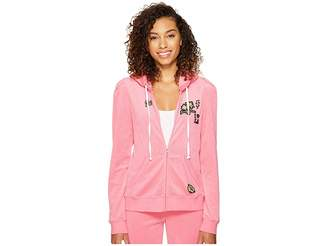 Juicy Couture Venice Beach Patches Microterry Puff Sleeve Jacket Women's Coat