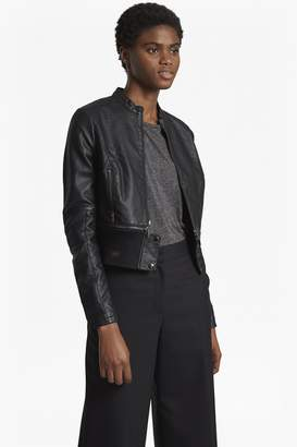 French Connection Sandra Faux Leather High Collar Biker Jacket