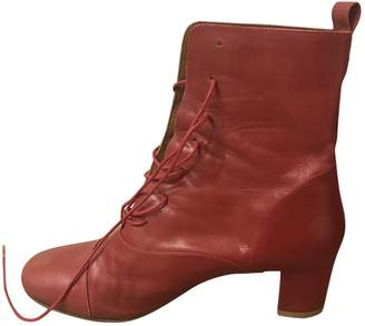 By Far Red Leather Ankle boots