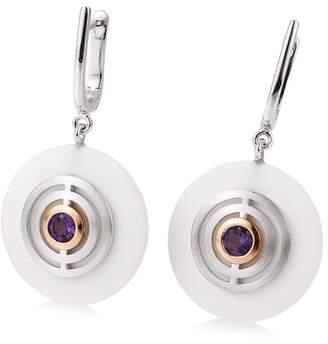 Breuning Two-Tone Sterling Silver Bezel Set Purple Amethyst Stacked Disc Drop Earrings