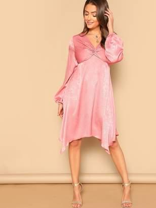 Shein Twist Front V-Neck Dress