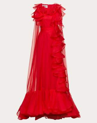 Valentino Organza Evening Dress With Ruffles Women Red 40