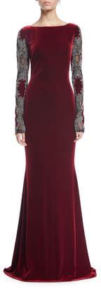 Sheer Long-Sleeve Velvet Column Gown
