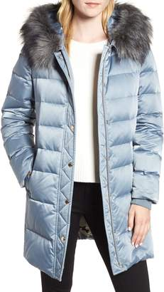 Kate Spade Down & Feather Faux Fur Trim Coat