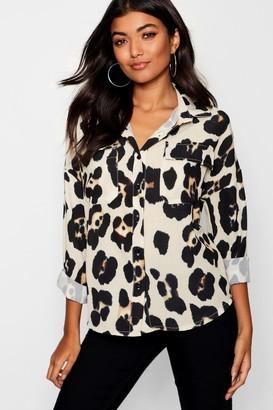 boohoo Leopard Print Pocket Shirt