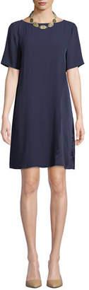 Eileen Fisher Bateau-Neck Silk Crepe Shift Dress, Petite