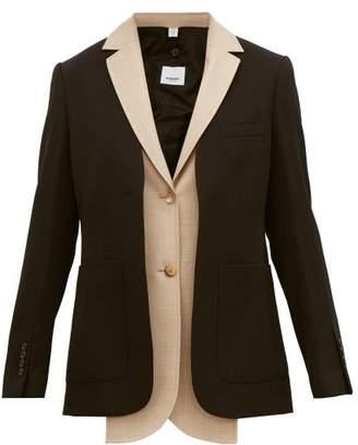 Burberry Waistcoat Insert Single Breasted Wool Jacket - Womens - Black