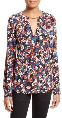 Women's Tracy Reese Floral Print Silk Cold Shoulder Blouse $248 thestylecure.com