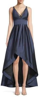 Aidan Mattox Deep V-Neck Hi-Lo Ball Gown