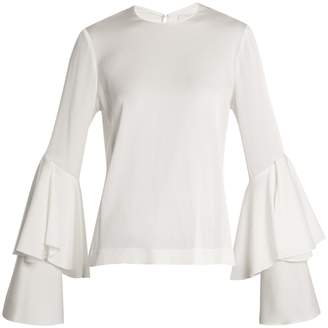 GALVAN Bell-sleeve crepe-back satin blouse