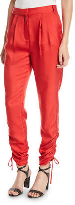 Tibi Mendini Skinny-Leg Shirred Twill Pants w/ Drawstring Hem