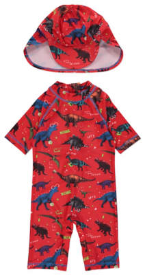 a1ae50265e George Red Dinosaur Sun Protection UV40 Swimsuit and Hat Set