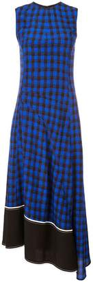 Derek Lam Sleeveless Plaid Print Crewneck Dress with Asymmetric Hem