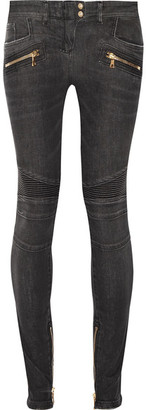 Balmain - Moto-style Distressed Low-rise Skinny Jeans - Gray $1,310 thestylecure.com
