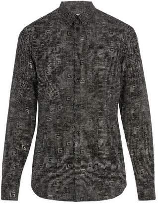 Givenchy Dot Print Cotton And Silk Blend Shirt - Mens - Black