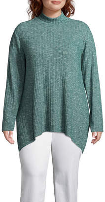 ST. JOHN'S BAY Ribbed Sharkbite Hem Turtleneck - Plus