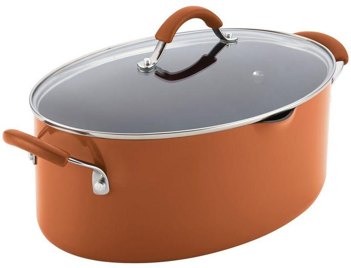 Rachael Ray Cucina Hard Enamel Nonstick 8 qt. Covered Oval Pasta Pot with Pour Spout in Pumpkin Orange