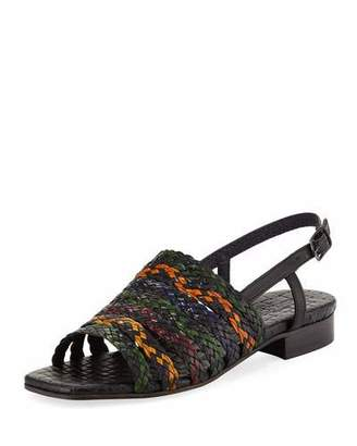 Sesto Meucci Goldie Woven Flat Sandal, Black Multi $250 thestylecure.com