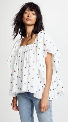 Natasha Zinko Embroidered Cotton Flared Top