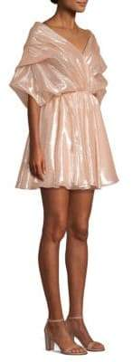 Caroline Constas Marcella Tiered Ruched Sleeve Fit-&-Flare Dress