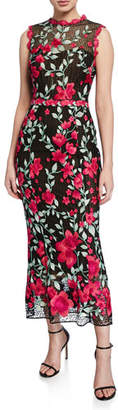 Marchesa Sleeveless Floral Embroidered Guipure Tea-Length Gown