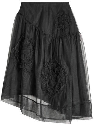 Simone Rocha Ruched Flower Skirt with Tulle Overlay