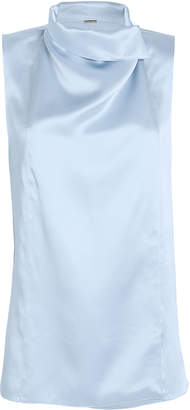 ADAM by Adam Lippes Draped Satin Sleeveless Blouse