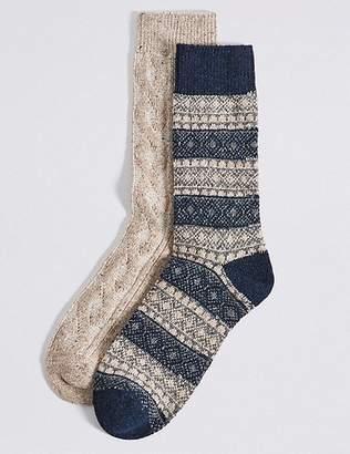 Marks and Spencer 2 Pack Thermal Wool Fairisle Socks