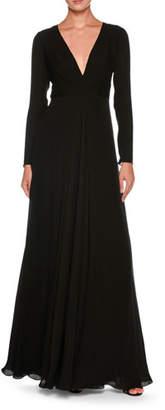 Giorgio Armani Plunging Long-Sleeve Silk Cady Floor-Length Dress