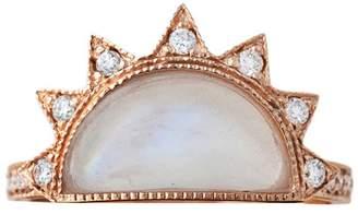 Jacquie Aiche Aquamarine Half Sun Ring - Rose Gold