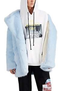 LANDLORD Men's Faux-Fur Peacoat - Blue