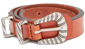 Etro Braided Buckle Leather Waist Belt - Womens - Tan