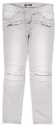 Balmain Low-Rise Biker Jeans w/ Tags