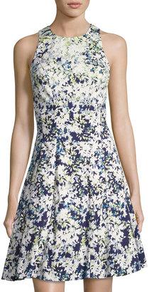 Maggy London Cotton-Blend Floral-Print Dress, Blue Pattern $89 thestylecure.com